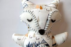 Fox Stuffed Animal - Teepees, Foxes and Trees Sleepy Fox Pillow - Nursery Decor by bunbunbabydesigns on Etsy