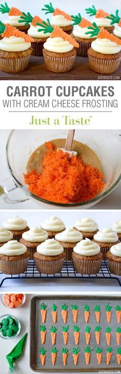Carrot Cupcakes with Cream Cheese Frosting recipe via justataste.com