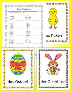 German Easter Ostern puzzles activities and cards - The pack comprises: * 10 color flashcards/posters * Write Around the Room activity b/w * Anagram puzzle plus answer key b/w * Frohe Ostern flip book * Crossword puzzle (2 versions - one with initi
