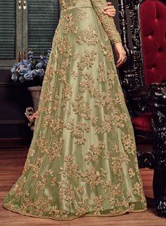 Salmon Pink & Beige Designer Heavy Embroidered Net Wedding Anarkali Lehenga - Her Crochet Shadi Dresses, Pakistani Formal Dresses, Pakistani Wedding Outfits, Indian Gowns Dresses, Pakistani Dress Design, Bridal Outfits, Net Dresses, Pakistani Fashion Party Wear, New Stylish Dress