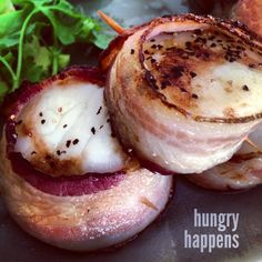hungry happens — Bacon wrapped scallops Preheat oven to 450 F....