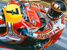 Barry Sheene up close Motorcycle Racers, Motorcycle Art, Racing Motorcycles, Motorcycle Posters, Classic Bikes, Road Racing, Champions, Vintage Racing, Sportbikes