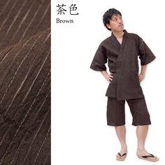 Omi Chijimi (physical wrinkle processed textile) Kasuri Ori (pattern weaving) Jimbei for men (cotton 75%, hemp 25%) made in Japan