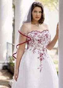 Satin A-line with Scalloped Sweetheart Neckline, Plus Sizes, I love this! Traditional yet young and fun!