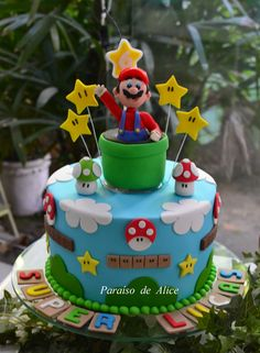 Baby boy party super mario ideas for 2019 Nintendo Party, Nintendo Cake, Luigi Cake, Mario Bros Cake, Mario Kart Cake, Bolo Do Mario, Bolo Super Mario, Mario Birthday Cake, Super Mario Birthday