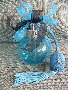 New Aqua Blue Glass Perfume Bottle w Spray Atomizer Tassel Double Bow Accent   eBay