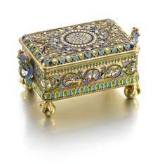 A silver-gilt and cloisonné enamel box, Ovchinnikov, Moscow, 1880 | Lot | Sotheby's