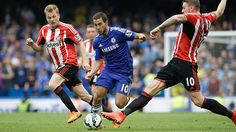Chelsea's Eden Hazard, center, competes against Sunderland during a 2015 English Premier League match in London. Good Soccer Players, Eden Hazard, English Premier League, Premier League Matches, Sunderland, Running, Country, Sports, London
