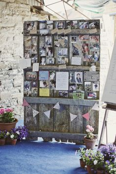 cards and bunting on a vintage wooden stand...