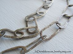 Hand forged large link chunky sterling silver chain necklace by JoDeneMoneuseJewelry