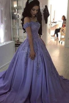 Lilac Ball Gown V Neck Off the Shoulder Lace Appliques Satin Beaded Prom  Dresses uk on 19a99a538fe0