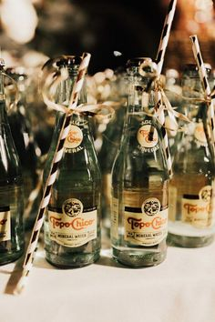 Adorable Topo Chico party favors at this Cali wedding Creative Wedding Favors, Elegant Wedding Favors, Wedding Favors For Guests, Fairytale Weddings, Winter Weddings, Wedding Day, Wedding Reception, Wedding Gifts, Craft Wedding