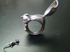 Cat Poison ring Sterling Silver and diamond eyes  with by Xidni, $220.00