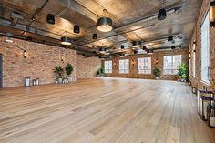 Dance Studio Design, Home Dance Studio, Yoga Studio Interior, Dance Hip Hop, Industrial Wedding Venues, Dance Rooms, Industrial Loft, Event Venues, Chic Wedding