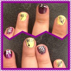 #purpleandyellow #makeawish #flowers #nailart #flashnail #nails #nailpolish #opi #chinaglaze #naturalnail #feather #designs #bowtie