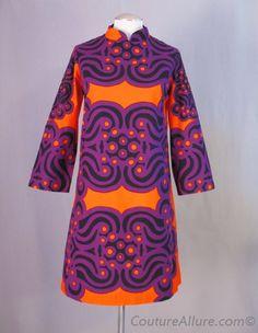 Vintage Fashion | 60s graphic orange + purple dress