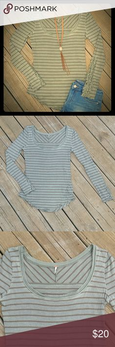 Free People Long Sleeve Top - Color: Olive with brown stripes   - Material: 100% cotton   - Gently used & in good condition   ** All other items pictured with this top are also for sale in my closet*** Free People Tops Tees - Long Sleeve