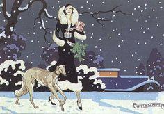 Art Nouveau Art Prints Woman with Greyhound by ArtdeLimaginaire, $8.50