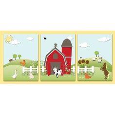 Baby Nursery Kids Wall Art Farm Animal Theme 3 Panel Stretched Canvas Print