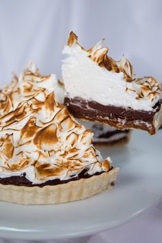 Lavender chocolate caramel tart with meringue topping #dessert