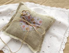 $13.00, Wedding Ring Pillow with Purple Floral Heart , Burlap Cushion, Flower Applique