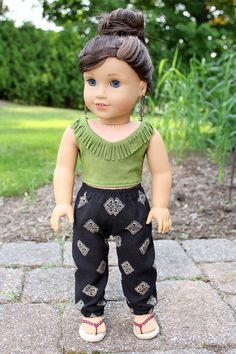 Medallion Print Pants & Fringed Crop Tank - separates for AG Dolls by ClarissesCloset on Etsy