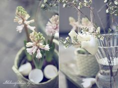 *Easter table setting - white and pure. Little hint of pink