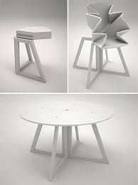 dining room table for those with small spaces. It just becomes a corner table when not in use. from a desk to dinner table :) Space Saving Furniture, Cool Furniture, Furniture Design, Dining Room Table, A Table, Transforming Furniture, Corner Table, Cool Ideas, Product Design