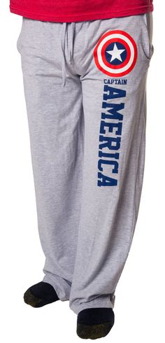 Finally, you can watch the Avengers assemble in comfort with these Captain America lounge pants. These lounge pants feature an image of Cap's trademark vibranium shield. Captain America believes that