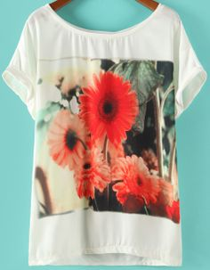 White Short Sleeve Sun Flower Print T-shirt US$20.33