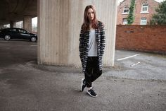 Oversized coat, joggers. Sports luxe.   www.ljlv.co.uk