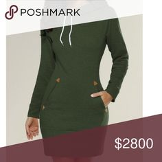 COMING SOON! Green Hoodie Dress Cute hoodie dress in green. Perfect with boots and tights. NOTE: Tag displays a size larger than the actual fit. Please see measurements below to ensure accurate fit. Dresses Long Sleeve