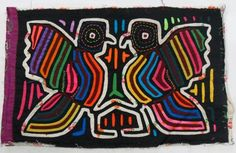 Native Central American Art. Love Doves Kuna Indians Mola art. 100% hand stitched using 6 different colors of fabric : Red, Blue, Orange,   Yellow, Green, Black. This is a genuine Mola panel that was part of a   Kuna woman blouse. It measures 14 inches X 9.5 inches and it dates from   the 1980's.It represents a Pair of kissing love wild doves which are very common in the Kuna Yala region.