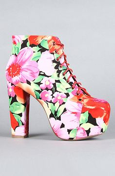 The Lita Shoe in Flowers Fabric by Jeffrey Campbell