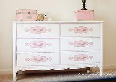 Upcycled Dresser shabby chic pink white