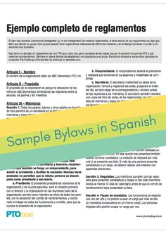 Complete Sample Bylaws In Spanish Ejemplo Completo De Reglamentos