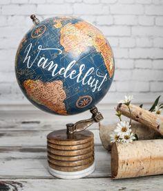 To travel is to live small white globe modern mango wood base wanderlust large blue globe travel quotes wanderlust definition calligraphy world globe wood and stone base gumiabroncs Images