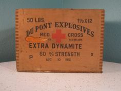 Antique Vintage Wood DuPont Red Cross Explosives Dynamite Box Crate - 1951