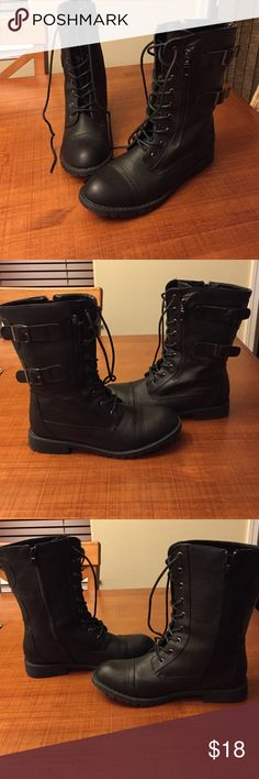 Combat boots Black faux fur lined combat boots. Worn once. Like-new condition. Glaze Shoes Combat & Moto Boots