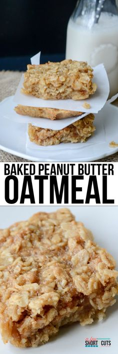 Baked Peanut Butter Oatmeal Recipe Serve as a hot breakfast, or cool for a grab & go snack. Either way this Baked Peanut Butter Oatmeal Recipe is a winner! Can be made gluten free & dairy free too! What's For Breakfast, Breakfast Recipes, Dessert Recipes, Breakfast Cookies, Breakfast Healthy, Healthy Eating, Healthy Foods, Healthy Filling Snacks, Breakfast Snacks