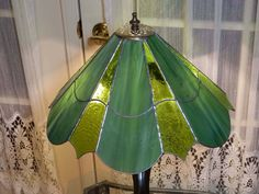 Stained Glass Lamp Shade or Hanging Lamp Green 12 by CraftsmanGary, $70.00