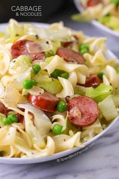 In this Cabbage and Noodles recipe, simple pantry ingredients create a comforting dish in just minutes. Tender sweet cabbage, fluffy egg noodles and deliciously browned sausage are tossed with butter, salt & pepper. A perfectly comforting meal that your whole family will love!