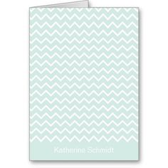 Mint & White Chevron Personalized Folded Note Card