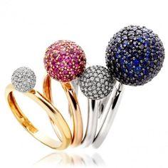 Takara diamond and sapphire stackable rings @Diana Wyard Clarke