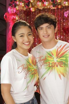 """This is the lovely Nadine Lustre and the handsome James Reid smiling for the camera during the recording of the ABS-CBN 2015 Christmas Station ID theme song, """"Thank You for the Love!"""" at the ABS-CBN Recording Studio at the ABS-CBN Compound last October 19, 2015. Indeed, JaDine, is another of my favourite Kapamilya love teams. #NadineLustre #JamesReid #JaDine #ABSCBNChristmasStationID #ThankYoufortheLove"""