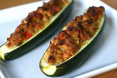 stuffed zucchini - take out the cheese and its paleo! Zucchini Boat Recipes, Veggie Recipes, Dinner Recipes, Cooking Recipes, Healthy Recipes, Zucchini Boats, Baked Zuchinni Recipes, Protein Recipes, Veggie Dishes