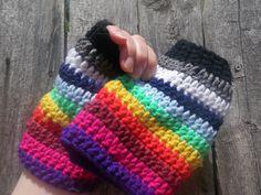 Rainbow fingerless gloves crochet fingerless by CrochetByMel, $27.99