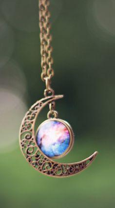 Moon + Galaxy Necklace