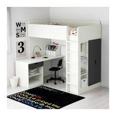 STUVA Hochbettkomb. 1 Schubl./2 Türen - weiß/schwarz - IKEA