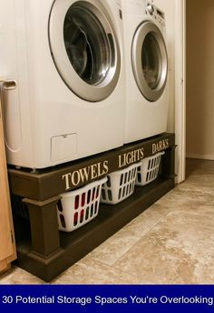 30 Potential Storage Spaces You're Overlooking {970616} #laundry #storage #ideas #laundrystorageideas 15 Potential Storage Spaces You're Overlooking | Room Makeovers to Suit Your Life | HGTV